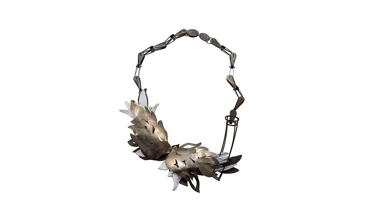 Statement Contemporary Art Jewelry Tamagit body wearableart accessories collect artcollect by artist Yiota Vogli